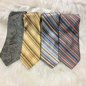 Other - 100% Silk Tie Lot (4) Bundle